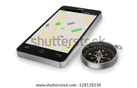 smartphone with gps map and a compass (3d render)