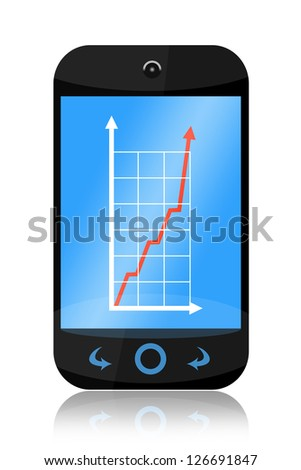 Smartphone with increasing business graph isolated on white background