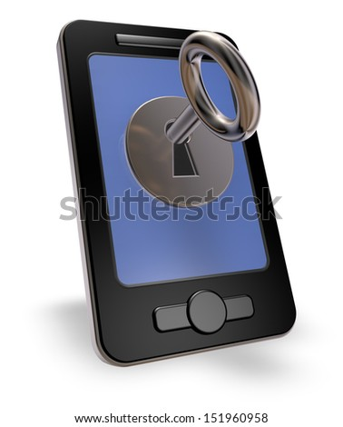 smartphone with leyhole on white background - 3d illustration