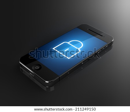 Smartphone with lock icon - security concept - stock photo