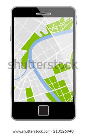 Smartphone with map isolated on a white background.