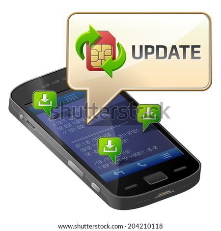 Smartphone with message bubble about update. Dialog box pop up over screen of phone. Illustration about smartphone, communication, mobile technology, notification, application prompting, etc - stock photo