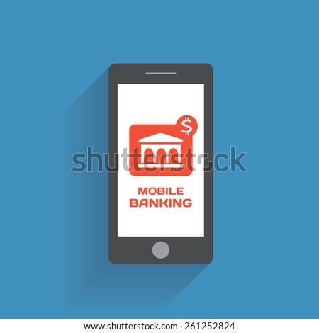 Smartphone with mobile banking icon on the screen. Using mobile smart phone silimar to iphon, flat design concept - stock photo