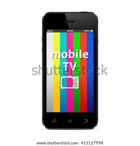 Smartphone with mobile tv banner - stock photo