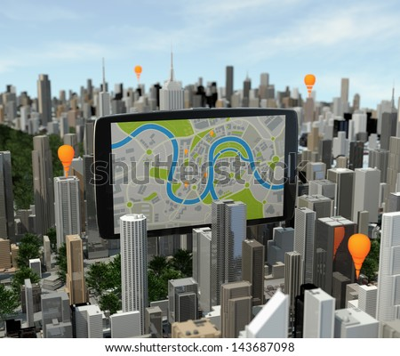 smartphone with navigator over city - stock photo