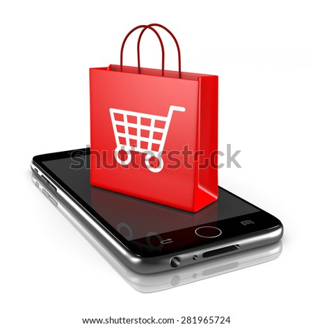 Smartphone with Red Shopping Bag with Shopping Cart Symbol on White Background 3D Illustration, Online Shopping Concept - stock photo