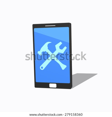 smartphone with repair sign on the screen service - stock photo