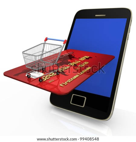 Smartphone with shopping cart and credit card on white background. - stock photo