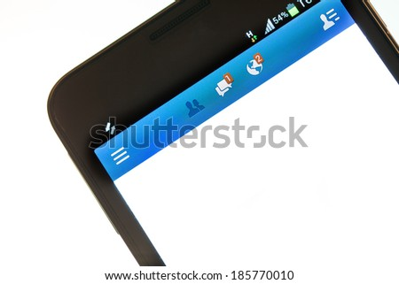 Smartphone with social network internet page