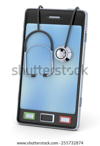 Smartphone with stethoscope on white background