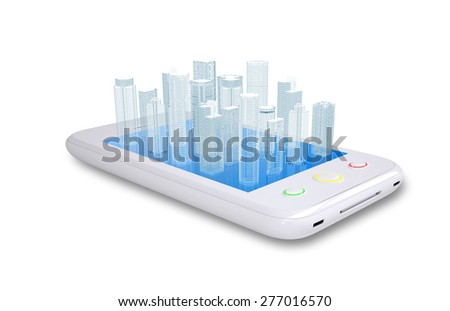 Smartphone with virtual cityscape on isolated white background