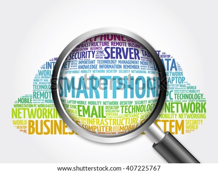 Smartphone word cloud with magnifying glass, business concept