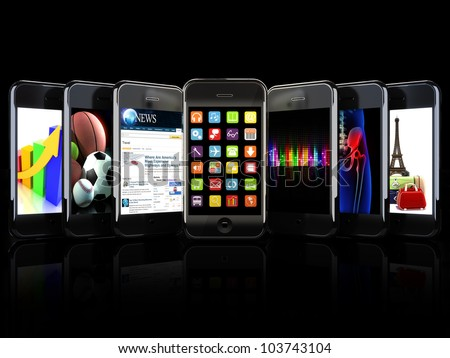 Smartphones, apps, and uses concept on a black background - stock photo