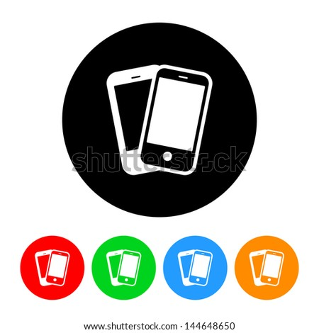 Smartphones Cell Phones Icon with Color Variations.  Raster version, vector also available. - stock photo