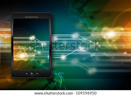 Smartphones Era - Digital Voice Communication. Personal Mobile Computer Inside the Phone. Global Communication. Technology Illustrations Collection - stock photo