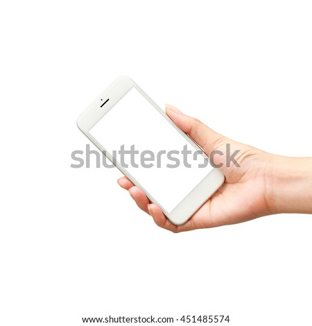 Smartphones in hand isolated on white background with blank screen - stock photo