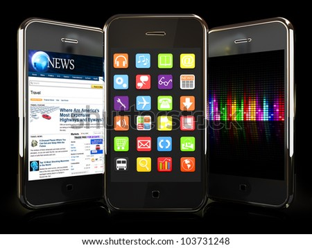 Smartphones with 3 interfaces on a black background. Custom designs - stock photo