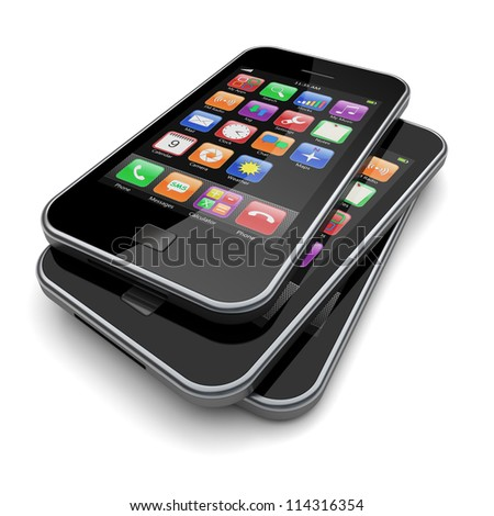 Smartphones with touchscreen and colorful apps . 3d image - stock photo