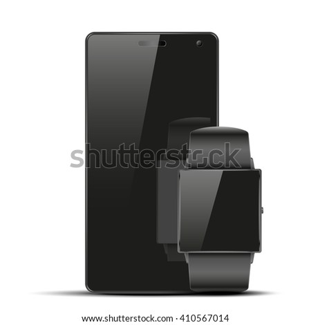 Smartwatch and touchscreen smartphone. Mock-up design. Illustration isolated on white background