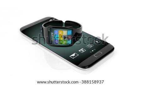 Smartwatch with apps on screen and smartphone, isolated on white background.
