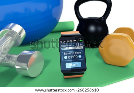 smartwatch with fitness app, fitness tools around it (3d render) - stock photo