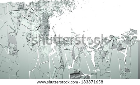 Smashed and shattered glass isolated. Large size - stock photo