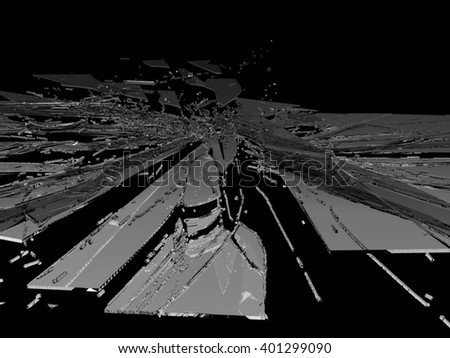 Smashed and shattered glass isolated on black - stock photo