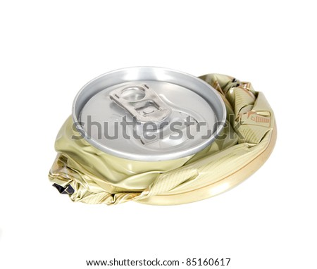 Smashed can on white background, pollution and recycling concept - stock photo