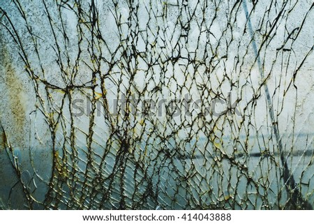 Smashed glass, Broken window, background of cracked glass - stock photo