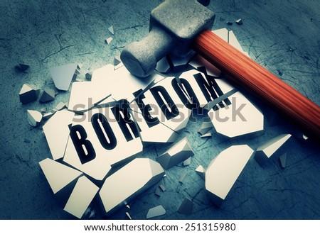 Smashing boredom - stock photo