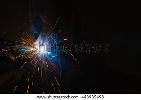 SMAW  Shielded Metal Arc Welding and Welding Fumes. - stock photo