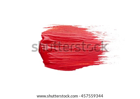 smear the red brush on white background
