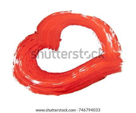 smears of red paint, heart isolated on white background