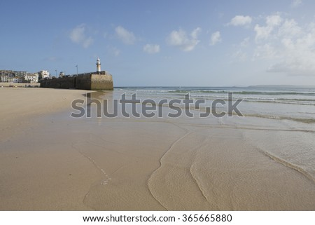 Smeaton's pier, St Ives, Cornwall UK at low tide. - stock photo