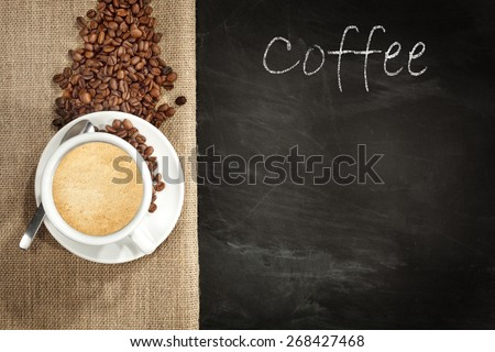 smell of coffee and coffee beans of brown color  - stock photo