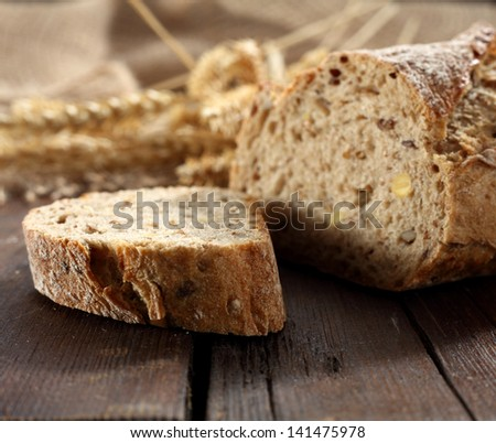 smell of fresh bread on desk closeup