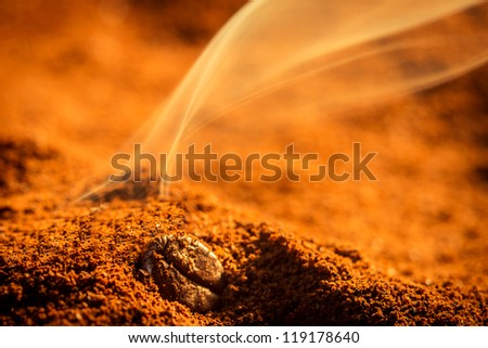Smell of roasted ground coffee - stock photo