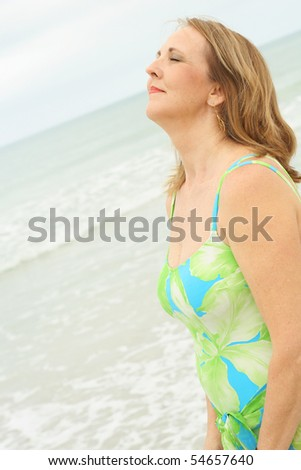 smell the ocean air - stock photo