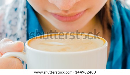 Smelling Coffee - stock photo