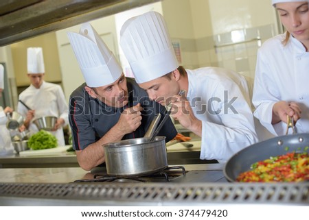smelling the recipe - stock photo