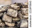 smelly tofu fried with oil, strong fermented tofu with strong smell, that taste good when eat with sauce - stock photo