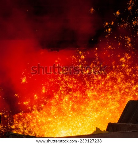 Smelting of metal casting, metallurgical production - stock photo
