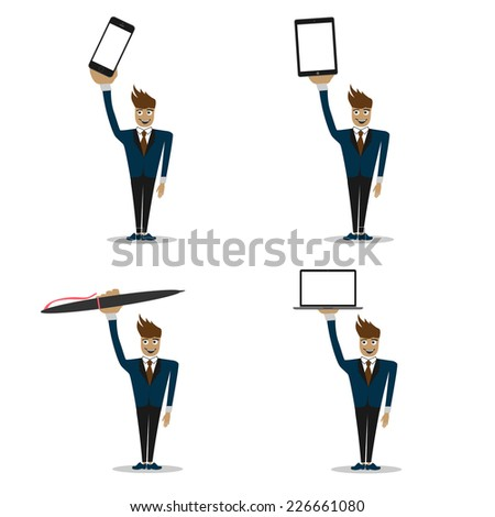 smiiling man with different devices. smartphone, tablet pc, laptop and pen. - stock photo
