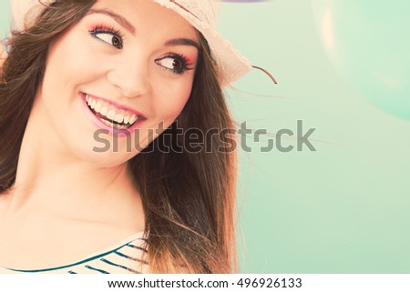 Smile and laugh. Vacation and rest. Portrait of happy lovely girl in straw hat. Young tourist woman enjoy holidays and summer time.