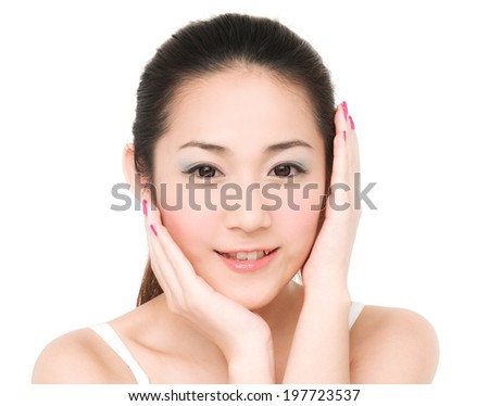 Smile asian girl Skin care smile face close up and her touch health face