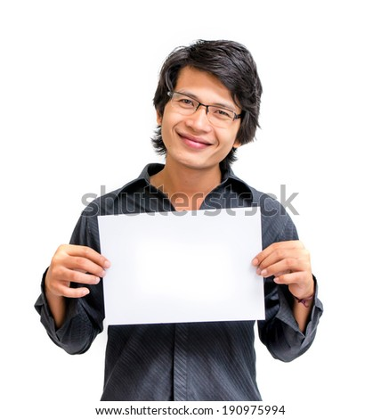 Smile asian man showing blank paper - stock photo