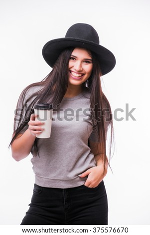 Smile attractive woman with rich long brown hair in hat drinking coffee white background. Series of poses. - stock photo