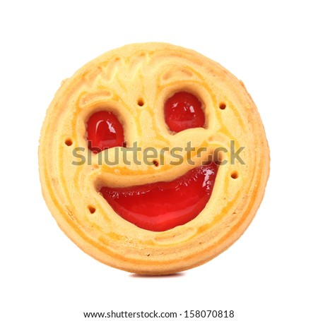 Smile biscuits with red jelly. Isolated on a white background. - stock photo