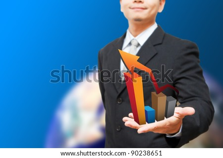 Smile Business man show high graph - stock photo