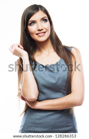 Smile Business woman crossed arms . Long hair model isolated . Looking up.  Teeth smile.